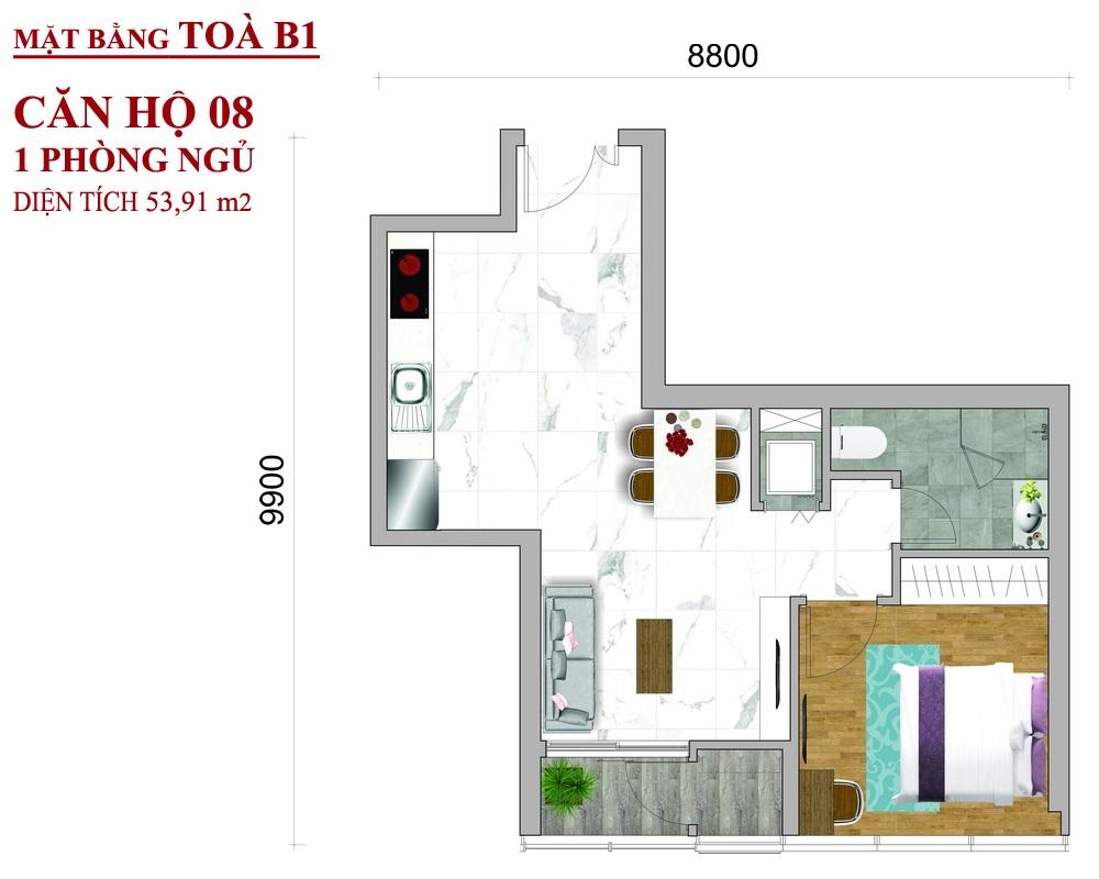 Mặt bằng dự án căn hộ Sunwah Pearl Toà B1