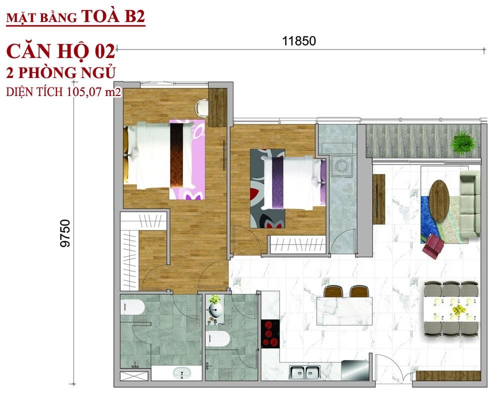 Mặt bằng dự án căn hộ Sunwah Pearl Toà B2
