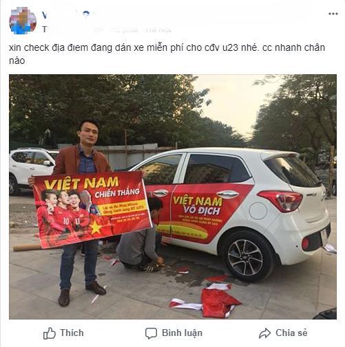 """Ô tô, hàng quán, công trường """"nhuộm đỏ"""" cờ tổ quốc cổ vũ U23 Việt Nam"""