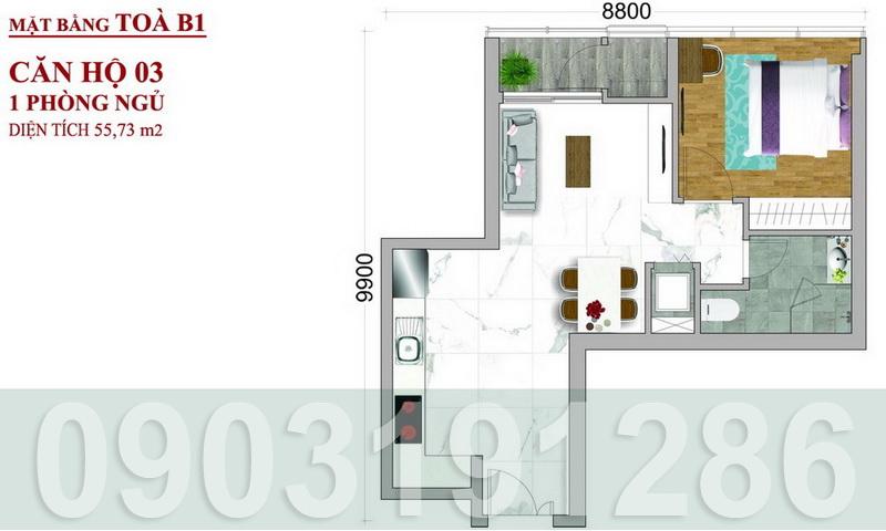 Bán Sunwah Pearl Bình Thạnh lầu 34 toà B1 nhà trống 1 phòng ngủ view thoáng mát