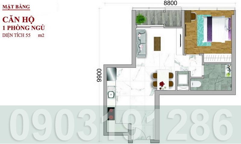 Căn hộ Sunwah Pearl cho thuê lầu 10 block B1 nhà trống 1 phòng ngủ thoáng