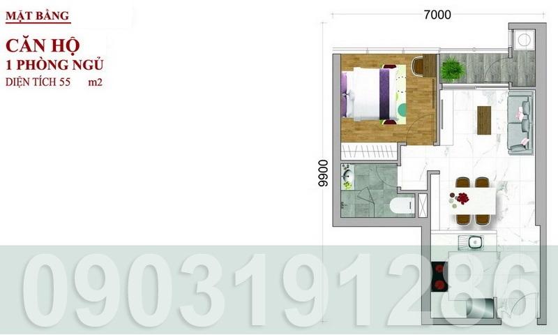 Căn hộ Sunwah Pearl cho thuê lầu 40 thoáng nội thất cao cấp 1 phòng ngủ