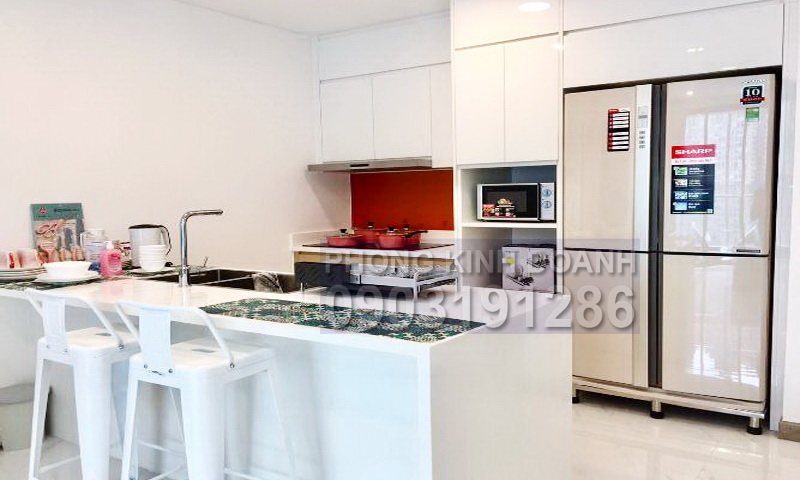 Căn hộ cho thuê Sunwah Pearl tầng 12 B3 nhà đẹp 2 phòng ngủ view sông