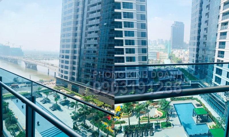 Căn cho thuê Sunwah Pearl lầu 12 block B3 nhà trống 2 phòng ngủ view sông